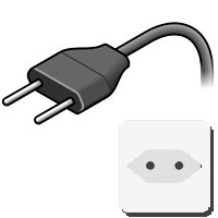 Typ-C-Stecker gezeichnet mit Bild der Steckdose