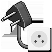 Typ-D-Stecker gezeichnet mit Bild der Steckdose