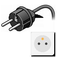 Typ-E-Stecker gezeichnet mit Bild der Steckdose