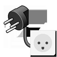Typ-K-Stecker gezeichnet mit Bild der Steckdose